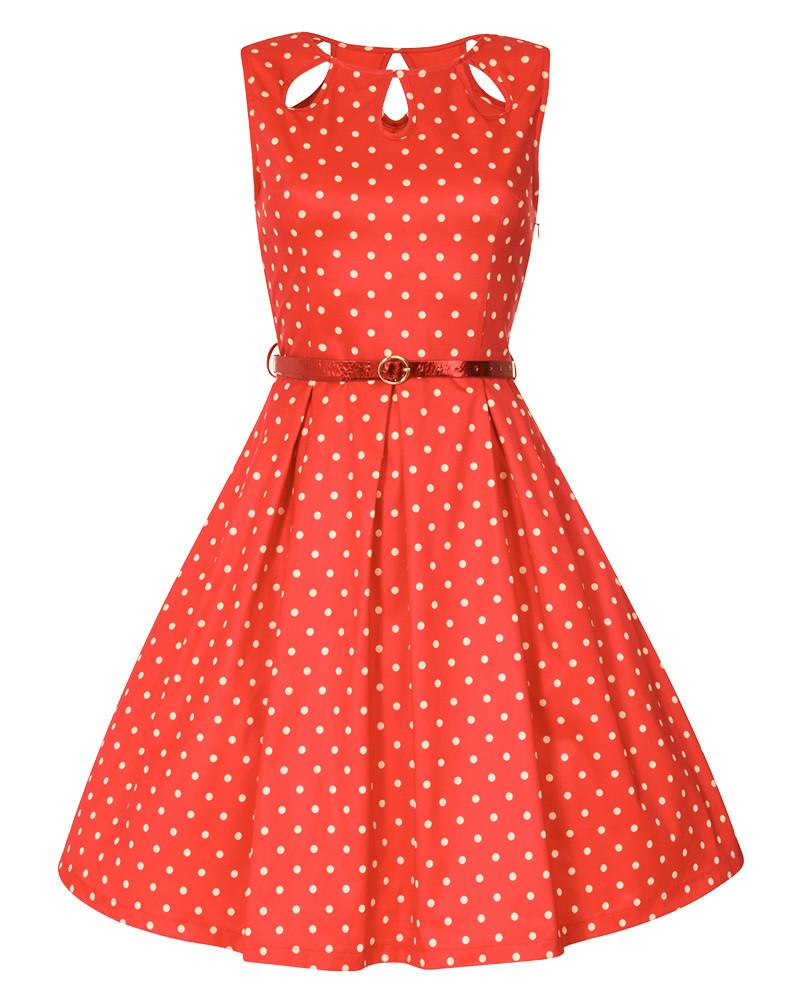809a5b0a1eab Lindy Bop Lily Červené Šaty S Bielymi Bodkami - JoyStore.sk