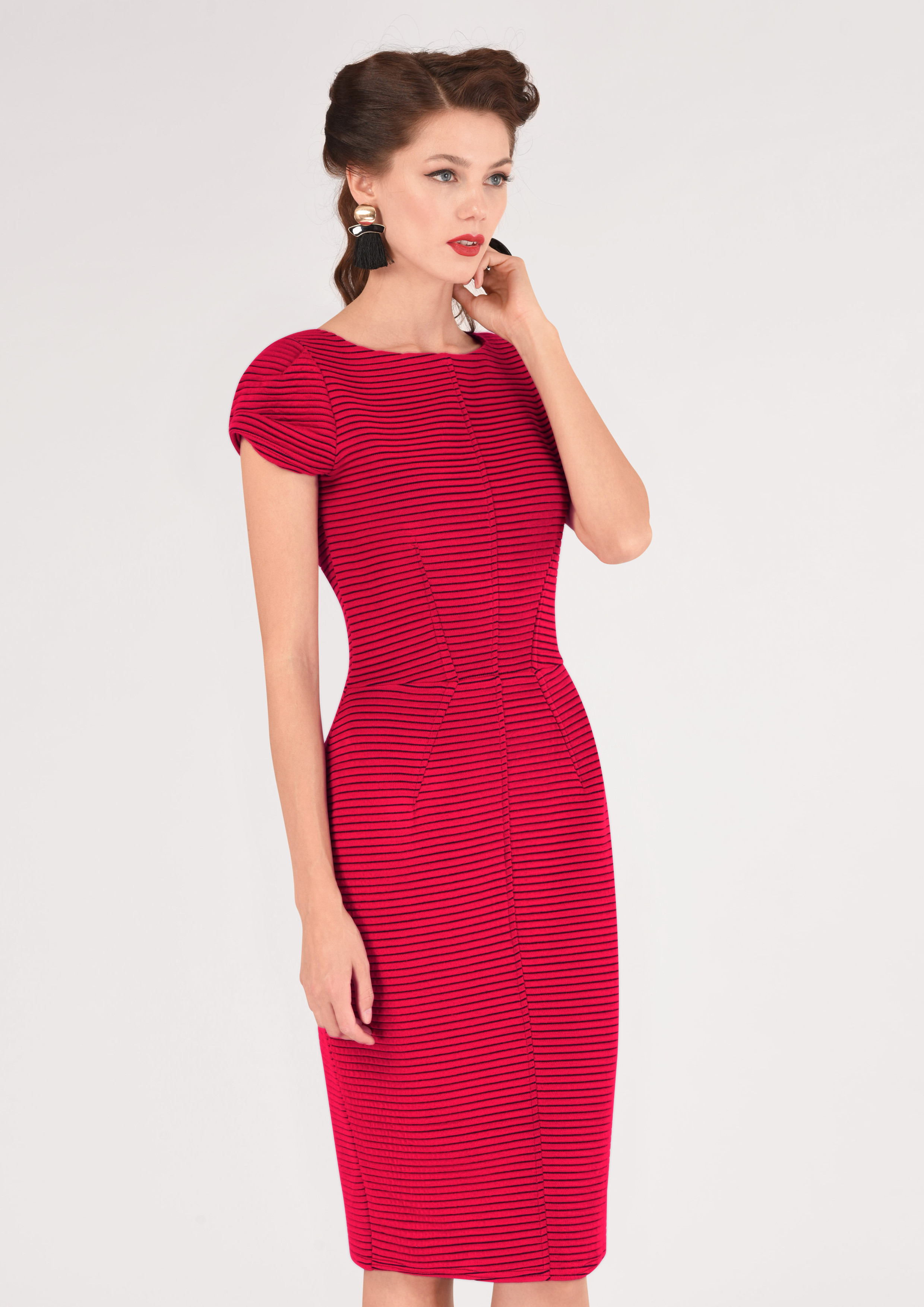 c2414a2cb3bc Closet London Ružové Prúžkované Púzdrové Šaty - JoyStore.sk