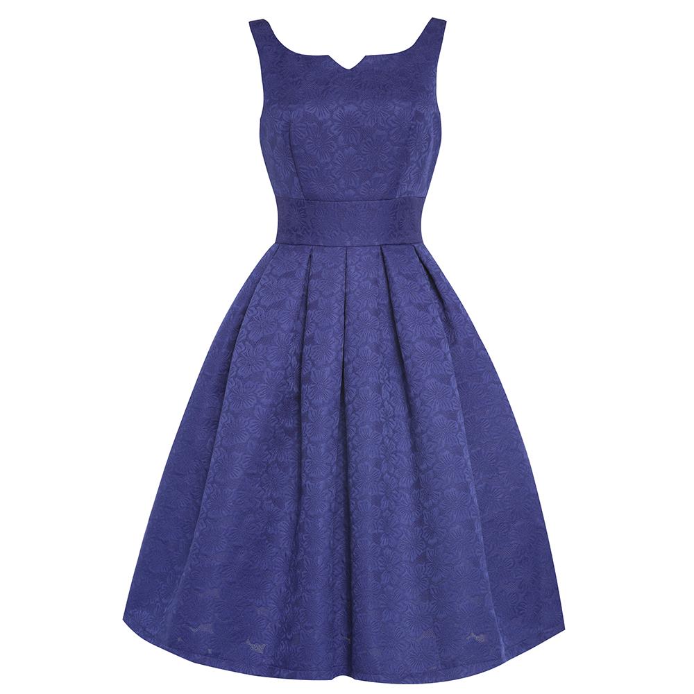 Lindy Bop Felicia Modré Swingové Šaty - JoyStore.sk cf3d8b3ebad