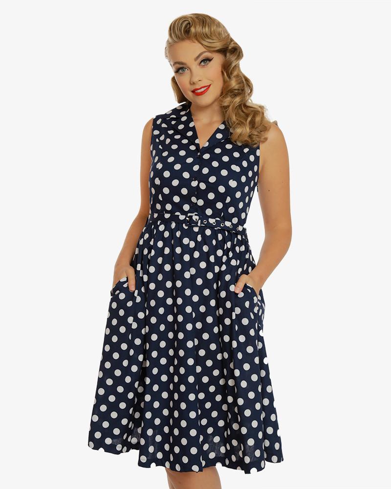 Lindy Bop Matilda Modré Bodkované Šaty - JoyStore.sk 74132b99f1b
