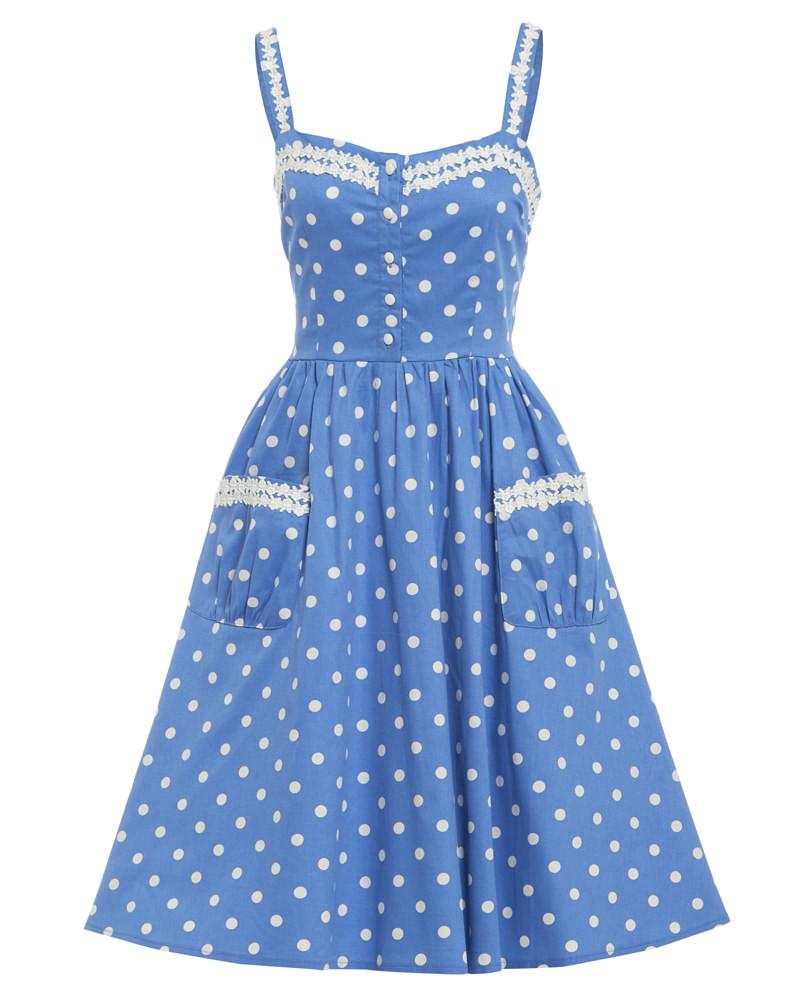 3455f48fa289 Lindy Bop Corinna Svetlo-modré Bodkované Šaty - JoyStore.sk