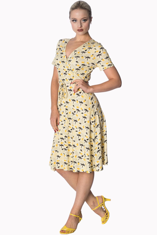 7de44e96e003 BANNED Letné žlté šaty s palmami - JoyStore.sk