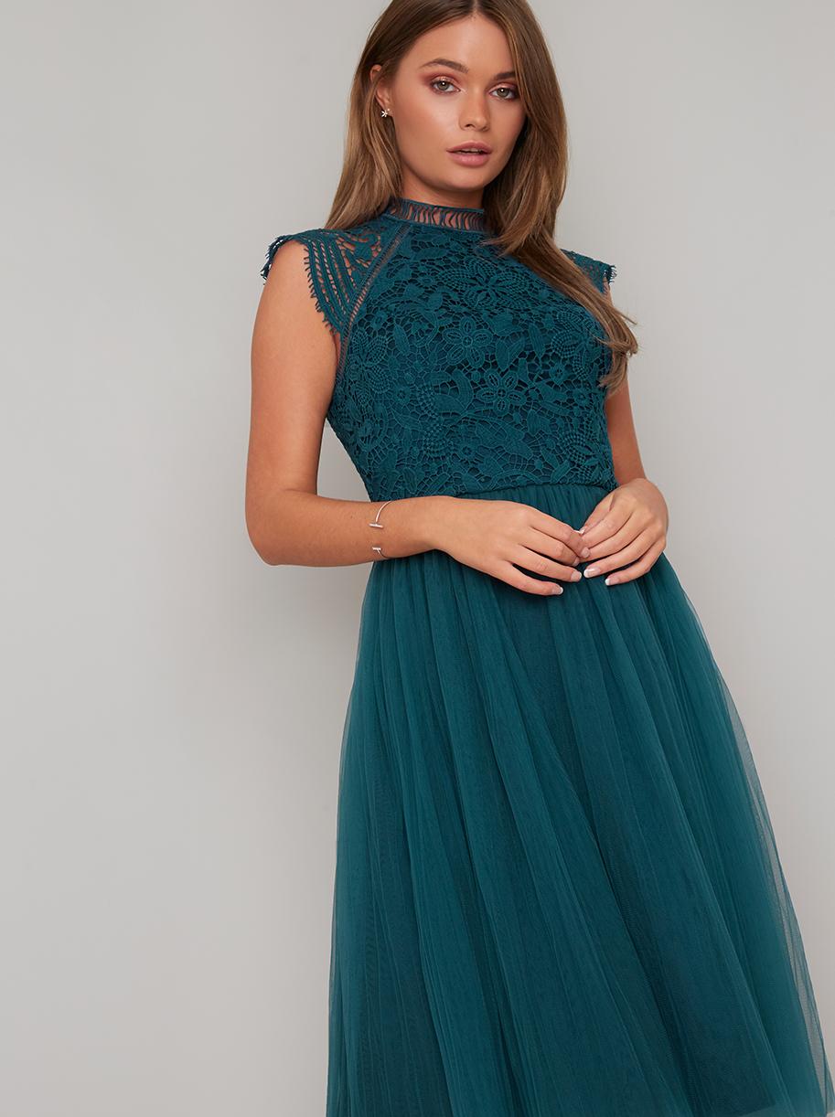 4720c19ccbcc Chi Chi Raelyn Zelené Šaty s Čipkovaným Topom - JoyStore.sk