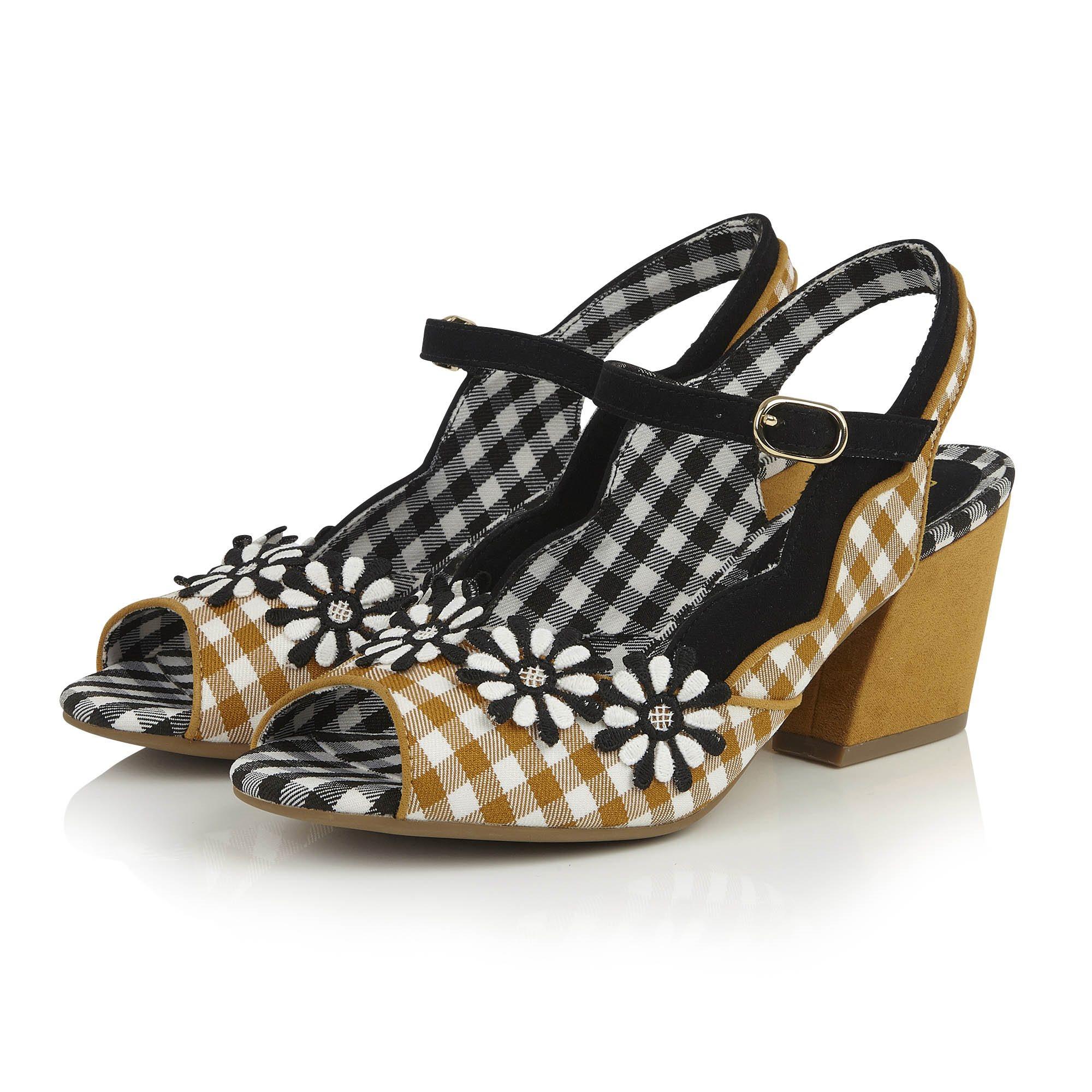 f5c651abad Ruby Shoo Hera Žlto-čierne kárované sandále - JoyStore.sk