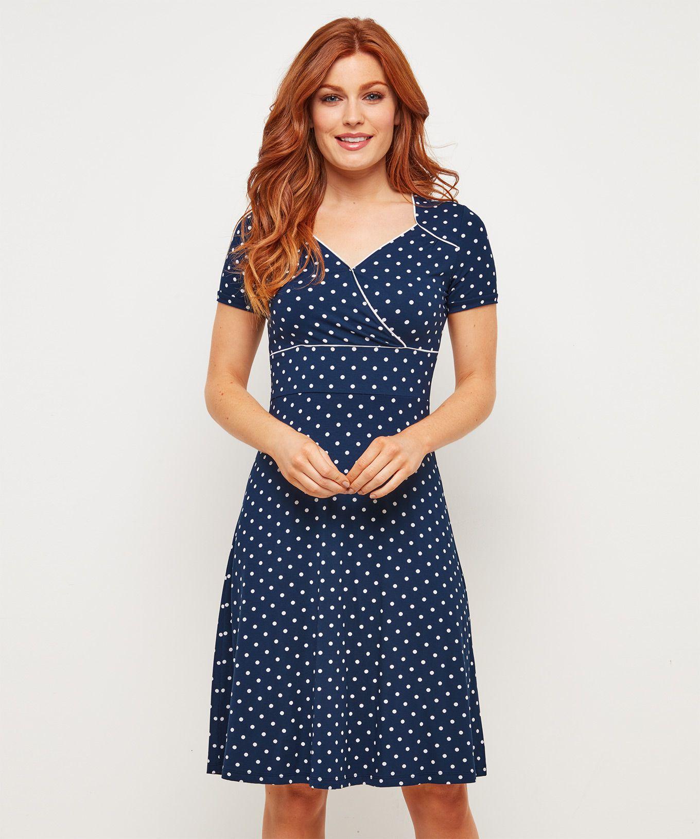 Joe Browns Modré bodkované šaty - JoyStore.sk f76d3a060e1
