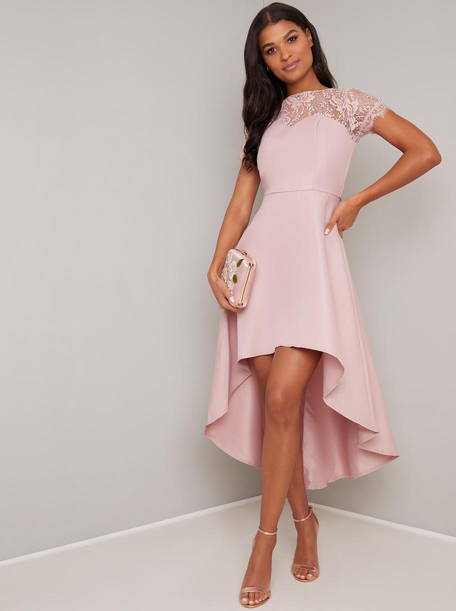 90af6c17ecd5 Chi Chi Allanna Ružové šaty s predlženou zadnou časťou - JoyStore.sk