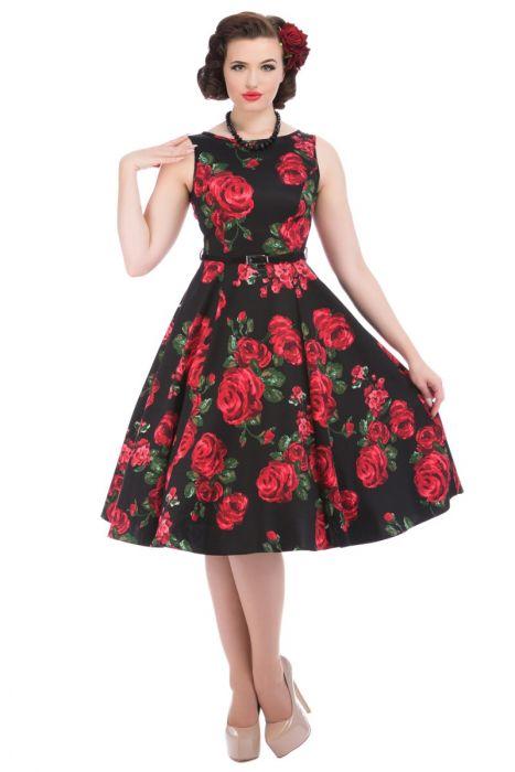 Lady Vintage Šaty Hepburn s červenými Ružami - JoyStore.sk e34ec3979f